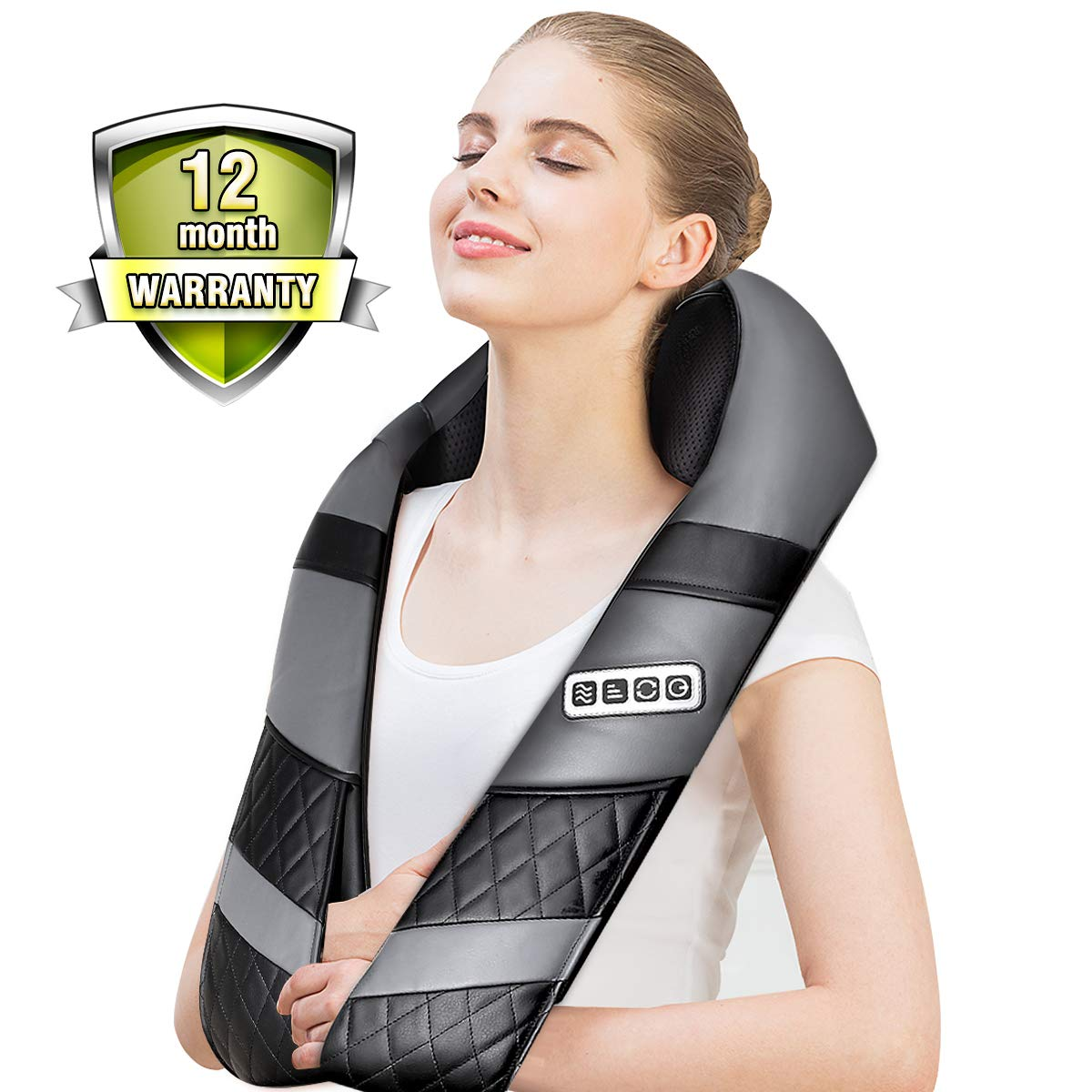 Shiatsu Back Shoulder Neck Massager with Heat – Deep 3D Kneading Massage Shawl for Neck Shoulder Back Waist Hips Legs Foot Whole Body, Relieve Muscle Pains Soreness and Tensions at Home Office
