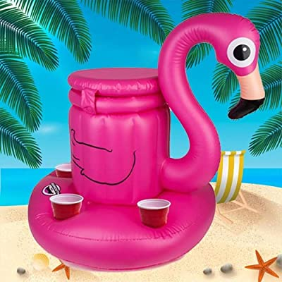 BigMouth Inc Inflatable Pink Flamingo Cooler, Holds 5 Drinks, Keeps Drinks Cold and Afloat, Great Pool Party Idea: Toys & Games