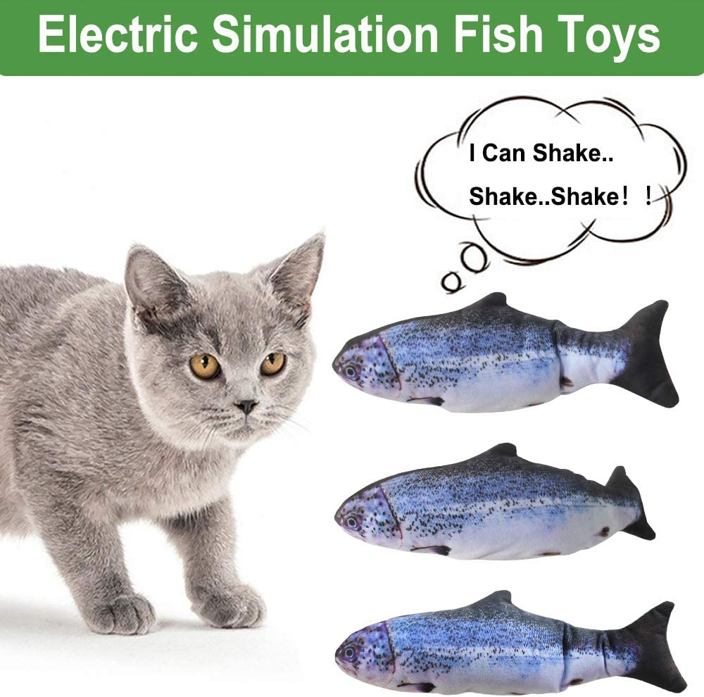 Chewing and Kicking Funny Interactive Pets Chew Bite Supplies for Cat//Kitty//Kitten Fish Flop Cat Toy Catnip Toys Perfect for Biting elloLife Realistic Plush Simulation Electric Doll Fish
