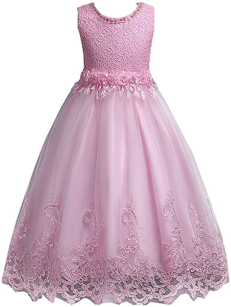 Shiny Toddler Little/Big Girls Embroidered Lace Wedding Birthday Party Pageant Dress