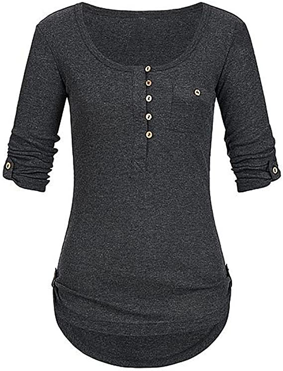 Camisetas Mujer Manga Corta,Lunule Blusa de Manga Corta con Botones de Mujer Pullover Tops con Bolsillos Blusa Camiseta para Mujer: Amazon.es: Ropa y accesorios