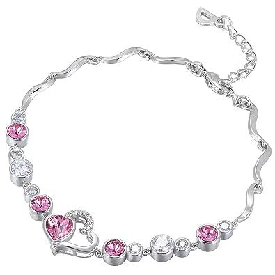 7d812c82cca7 Amazon.com  FAPPAC Interlocked Heart Link Bracelet Enriched with Swarovski  Crystals - Rhodium  Jewelry