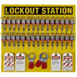Brady Padlock, Hasp, and Tag Lockout Station, Includes 36 Steel Padlocks