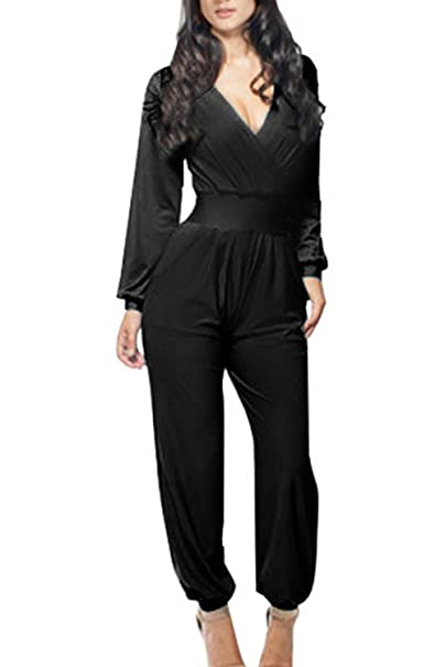 fc39c245ce9 Amazon.com  Women Elegant Deep V Neck Business Party Jumpsuits Overalls   Clothing