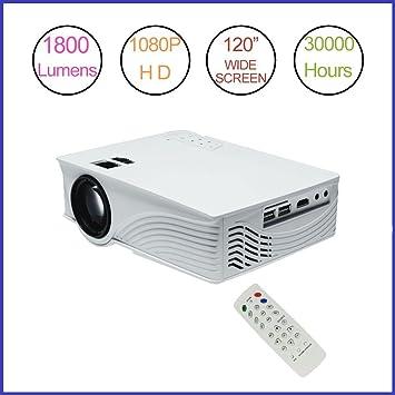 Proyector LED (Mini proyector 1800 lúmenes Proyector 1080p Full ...