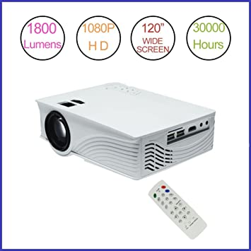 Proyector LED (Mini proyector 1800 lúmenes Proyector 1080p Full ...