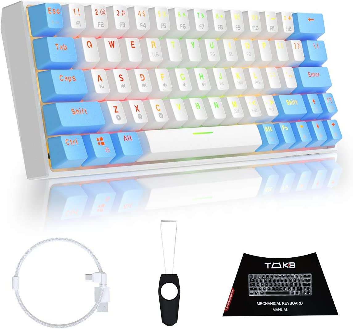 TMKB Mechanical Gaming Keyboard 60% True RGB Backlit Bluetooth 5.0 Wired/Wireless LED Computer Keyboard for Multi-Device iPhone Android Mobile PC Laptop - OUTEMU Brown Switch (GK63-W)