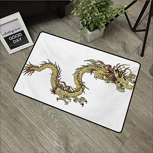 (Restaurant mat W35 x L59 INCH Dragon,Fire Dragon Zodiac with Large Claws Symbol Power Chinese Astrology Theme Mythology,Yellow White Non-Slip Door Mat Carpet)
