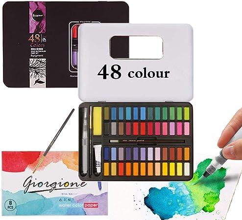 Set de Pinturas de Acuarela,Caja de Acuarelas Profesionales,Pigmento Sólido, Caja de Acuarelas Niños,Caja de Acuarelas,Set de Pintura (48 colores): Amazon.es: Hogar