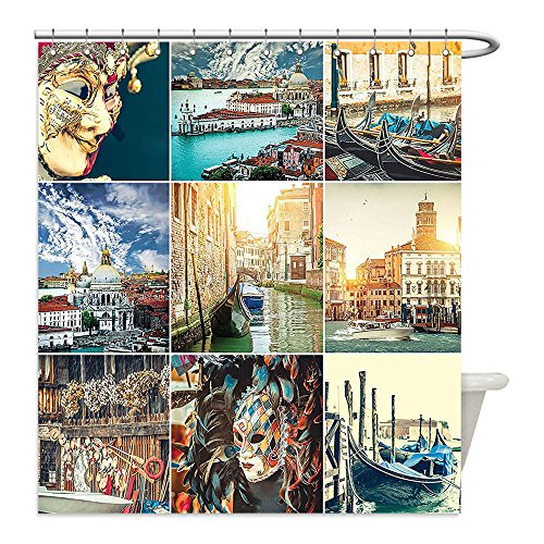Photos Of Caribbean Carnival Costumes (Liguo88 Custom Waterproof Bathroom Shower Curtain Polyester Home Decor Designed Masks for Carnival of Venice Baroque Style Gondolas on River Italy Landmark Picture Art Decor Multi Decorative bathro)
