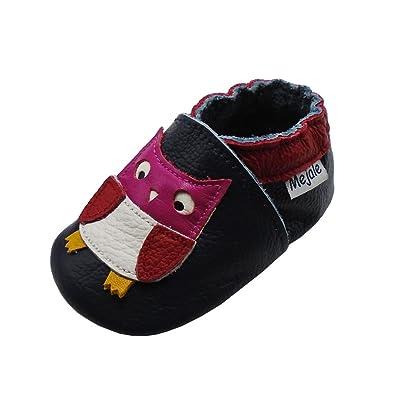 Mejale Chaussons Cuir Souple Chaussures Cuir Souple Chaussons Enfants Pantoufles Chaussures Premiers Pas Dessin Animé Chouette