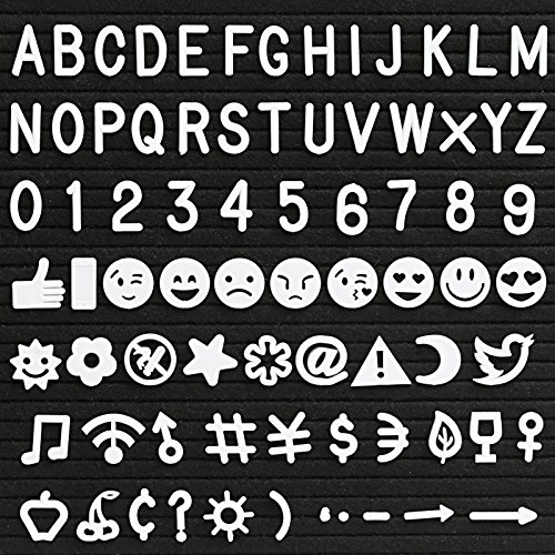 Kesoto Letter Set for Felt Letter Board - 190 Piece White Letters, Numbers, Symbols and Emojis for Changeable Letter Boards (White)