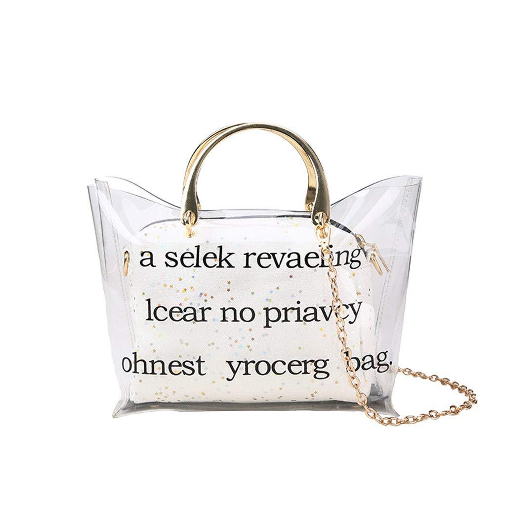 Fashionhe Crossbody Bag Women's Bag Transparent Shoulder Bags Sequined Mini Messenger Bag Small Bag (White)