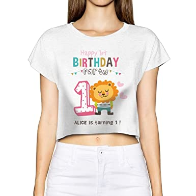 ffb05cffa Amazon.com: Happy 1st Birthday Lion Guard Themed Party Sexy Funny Exposed  Navel Short Sleeve T-Shirt Tee For Womens & Girls: Clothing