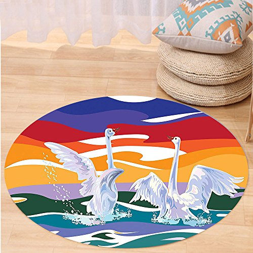 [Kisscase Custom carpetAnimal Decor Collection Funky Style Image of Swan Couple Swimming in the Sea Rainbow Color Sky Backdrop Modern Print Bedroom Living Room Dorm Multi] (7 Swans A Swimming Costume)