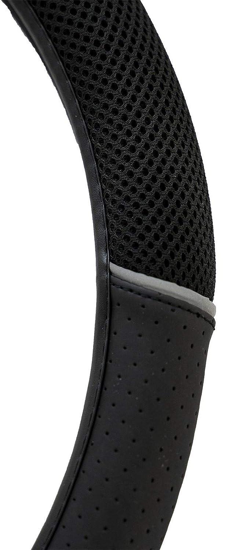 Black UKB4C Car Leather Look Steering Wheel Covers Universal 15 inch Breathable Anti-slip Wheel Sleeve Protector