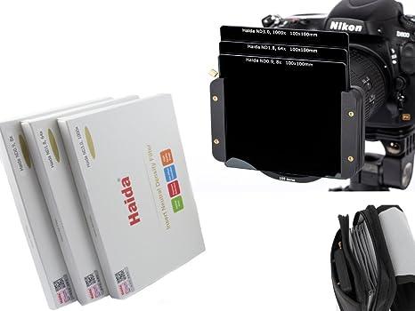 Consta de tres filtros ND0.9 64x 8x // ND3.0 100mm x 100mm // ND1.8 Incluyendo la nueva bolsa de filtro de Haida 1000x Nuevo: Conjunto de filtros de Densidad Neutra de HAIDA /Óptico de alta calidad
