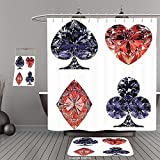 Uhoo Bathroom Suits & Shower Curtains Floor Mats And Bath TowelsDiamond Decor Collection Diamond Shaped Cards Poker Face Luxury Fortune Symbols Sapphire Decorative Decor Dark Blue RedFor Bathroom