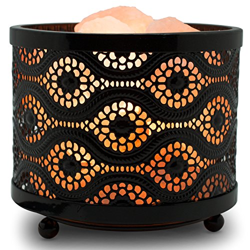 Himalayan Glow 1363B Natural Himalayan Lamp with Salt Chunks in Mosaic Design Metal Basket Night Light