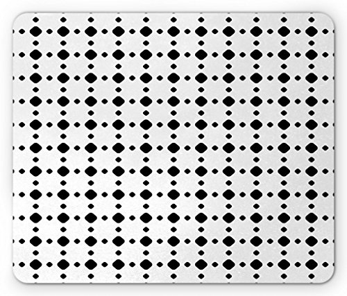 Lunarable Black and White Mouse Pad, Grid Pattern with Different Size Diagonal Squares with Beveled Corners, Standard Size Rectangle Non-Slip Rubber Mousepad, Black and (Digital Corner Workstation)