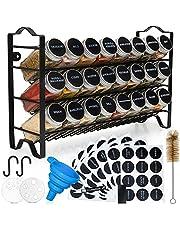 Deco Haus Kruidenrek Met Kruidenpotjes, 3-Laags Metalen Kruiden Organizer, Keuken Sorteerset Met 24 Kruidenpotjes, 48 Etiketten, Borstel, Trechter, Haken, Vrijstaand of Aan de Muur te Maken, Zwart
