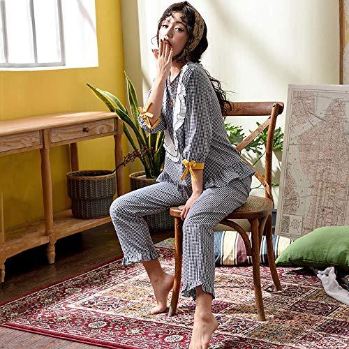 Donna Notte Plaid Estate M Loli Pigiameria Da Cotone Autunno Media Manica Notte GZZ Primavera Girocollo Da Camicie Pigiama Pigiami Donna Da U6vS8