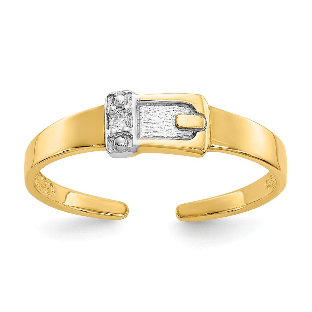 ICE CARATS 14k Yellow Gold .01ct Diamond Buckle Adjustable Cute Toe Ring Set Fine Jewelry Gift Set For Women Heart