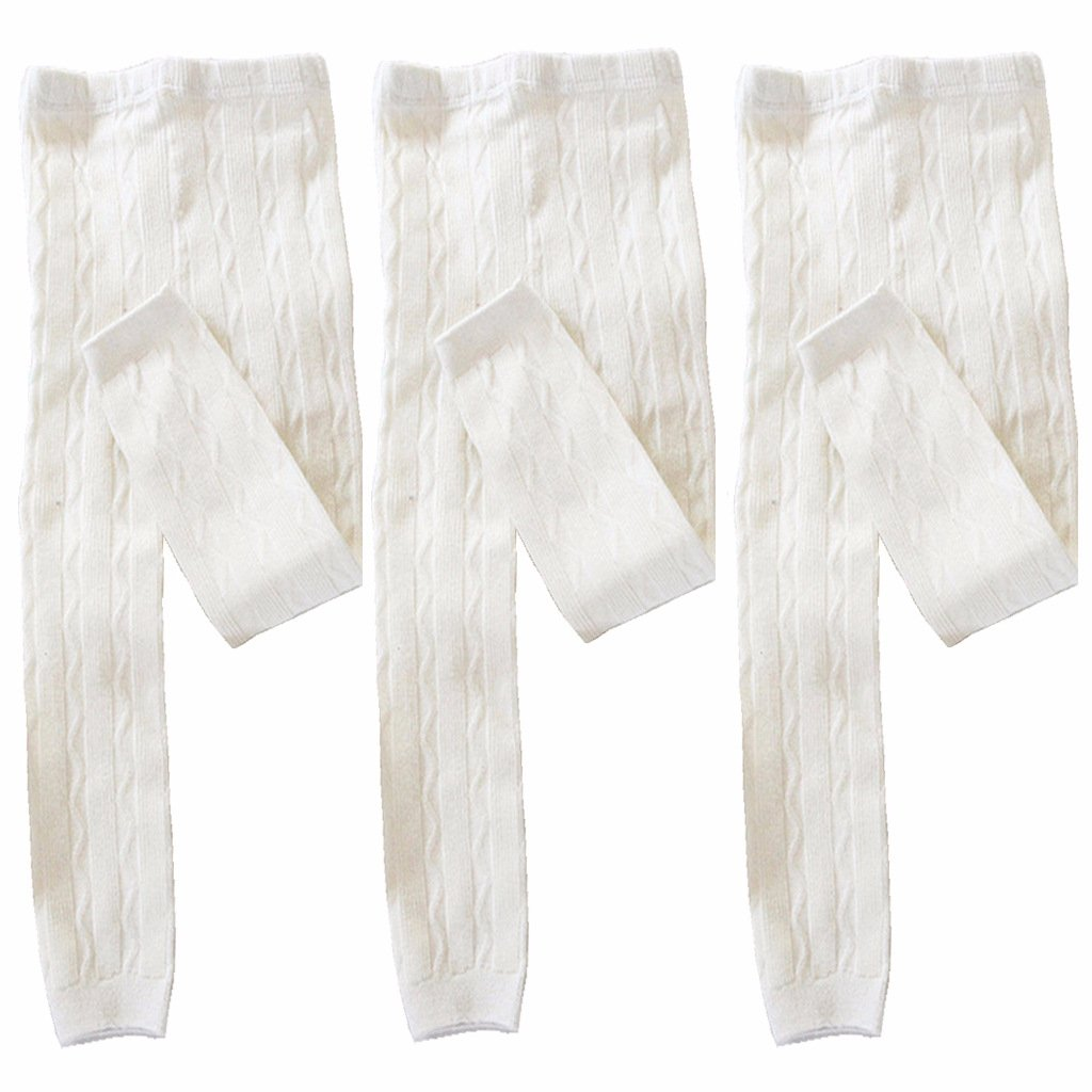Toddler Girls Leggings 3-Pack Solid Colors Cotton Pants for Kids 4T-6T #4 Pure White(Solid Colors)