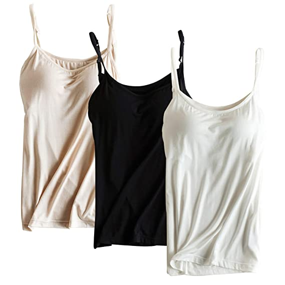 8ec2d2d588 Alizeal Womens Round Collar Camisole with Lined Bra Support  Amazon.co.uk   Clothing