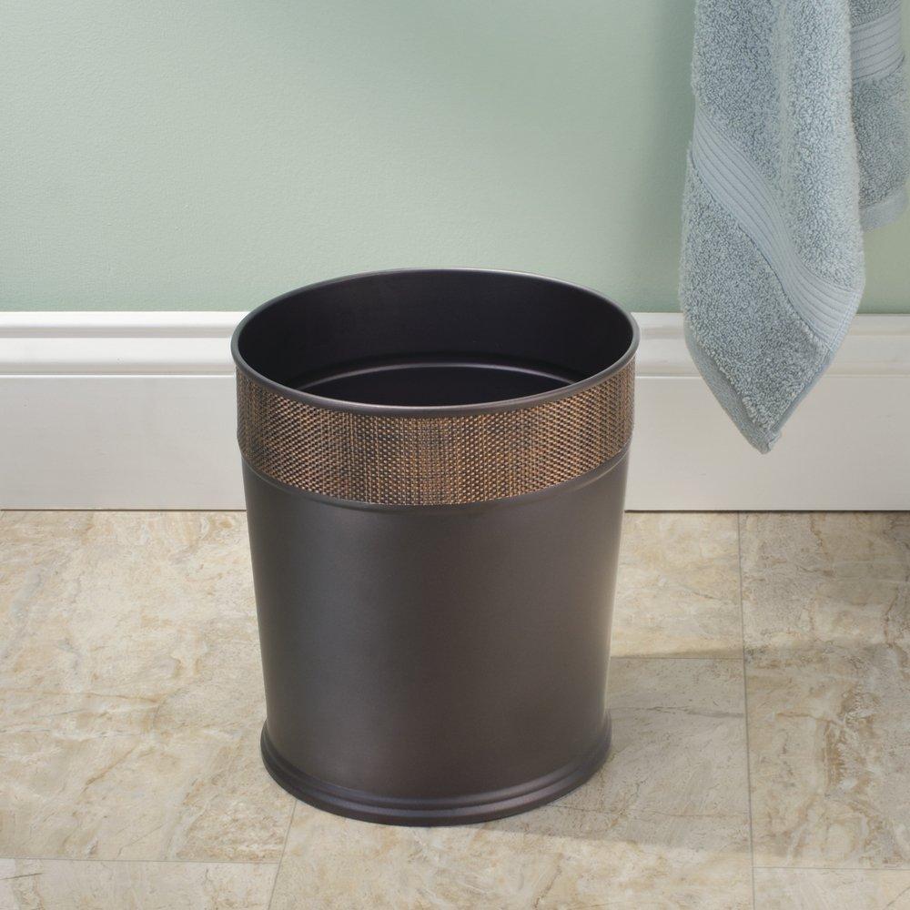 Steel wastebasket trash can bronze for bathroom for Bathroom wastebasket