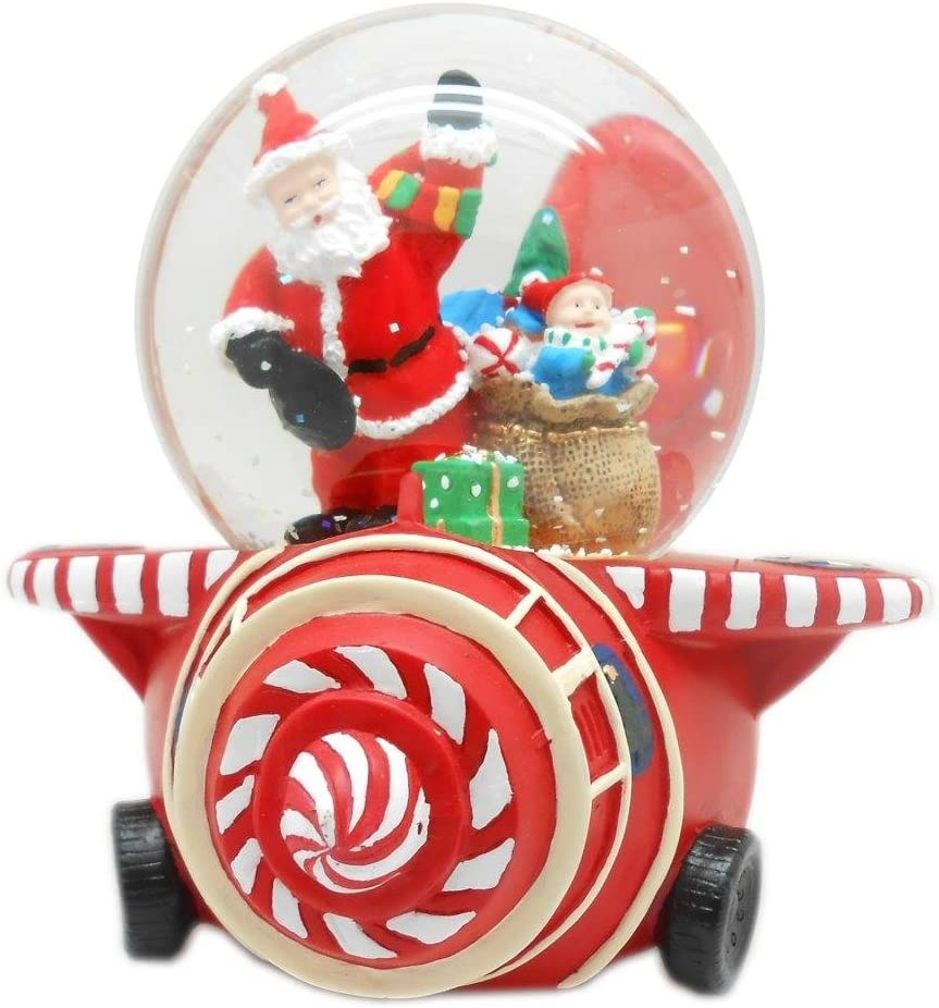 Lightahead Santa on an Airplane Musical Water Snow Globe Playing Tune & Rotating.A Table Top Decoration for Christmas(Santa on Plane)