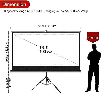 Xerona 100 Pulgadas 16:9 HD 4K Proyector Pantalla con trípode ...