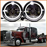07 freightliner century part - H6024 LED Replacement Round Headlights 7 Inch 75 Watt Halo Ring Amber Turn Signal High Low Beam DRL Light Bulb Combo for Trucks Freightliner Century 95 Peterbilt 379 EXHD 359