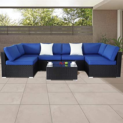 Amazon Com Patio Furniture Sofa Outside Couch Pe Black Wicker 7pcs