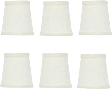 White Linen 5 Inch Chandelier Lamp Shade that clips onto Flame Tip Bulb
