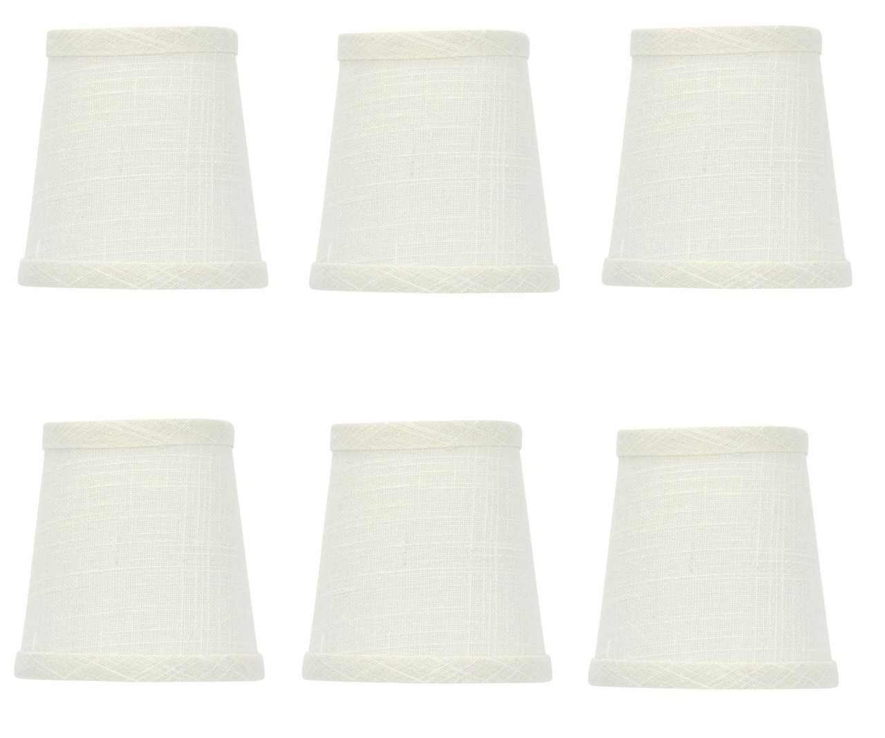Upgradelights White Linen Barrel Drum Chandelier Shades Set Of 6 Bottom Is 4 Inches And Clips To A Bulb Com