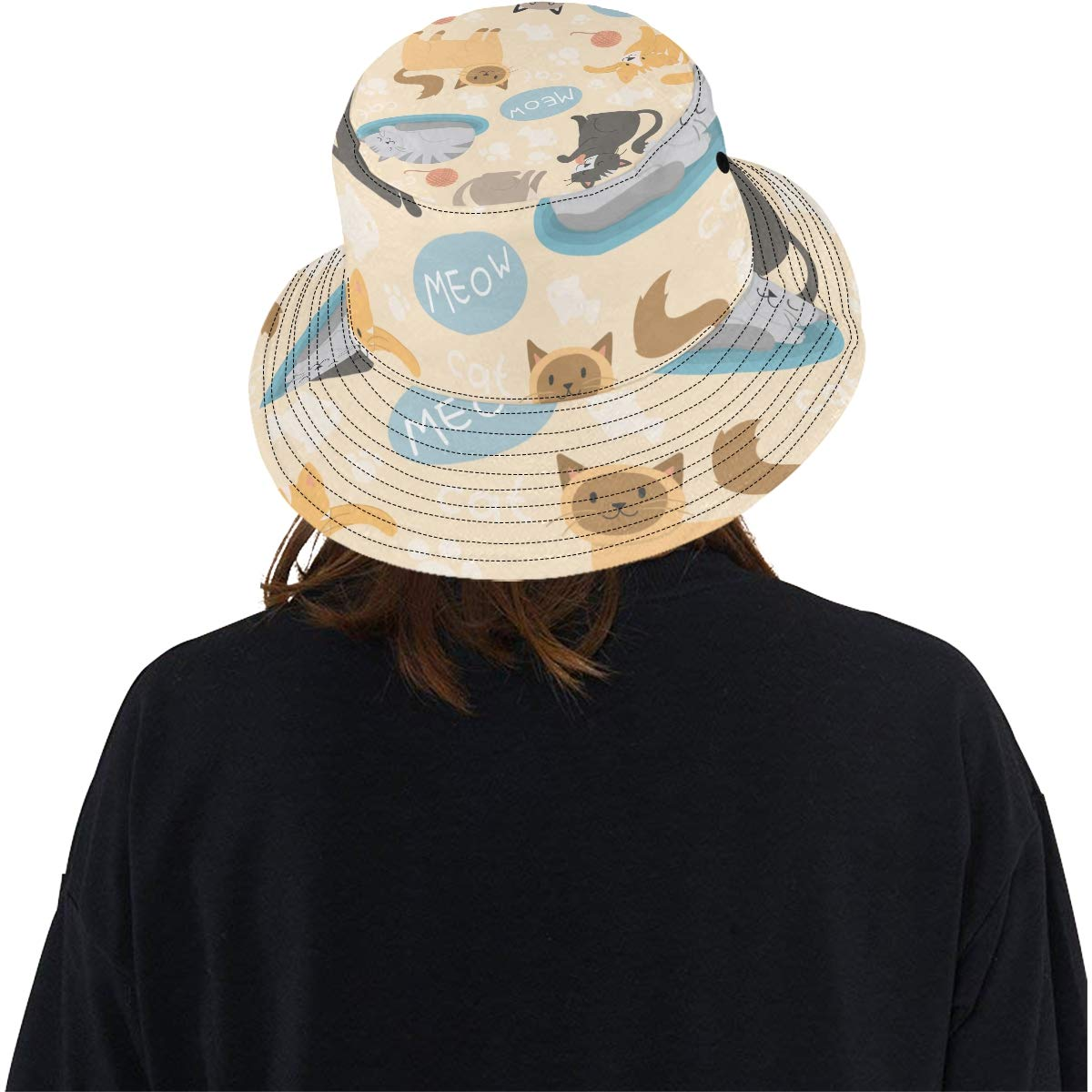 Little Funny Cats Playing Ball New Summer Unisex Cotton Fashion Fishing Sun Bucket Hats for Kid Teens Women and Men with Customize Top Packable Fisherman Cap for Outdoor Travel