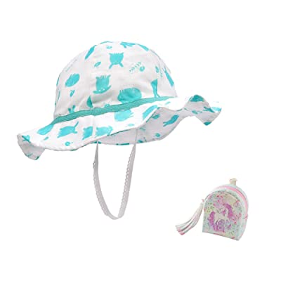 ACTLATI Kids Toddler Baby Sun Hat UV Protective Cotton Bucket Hat with Unicorn Coin Purse
