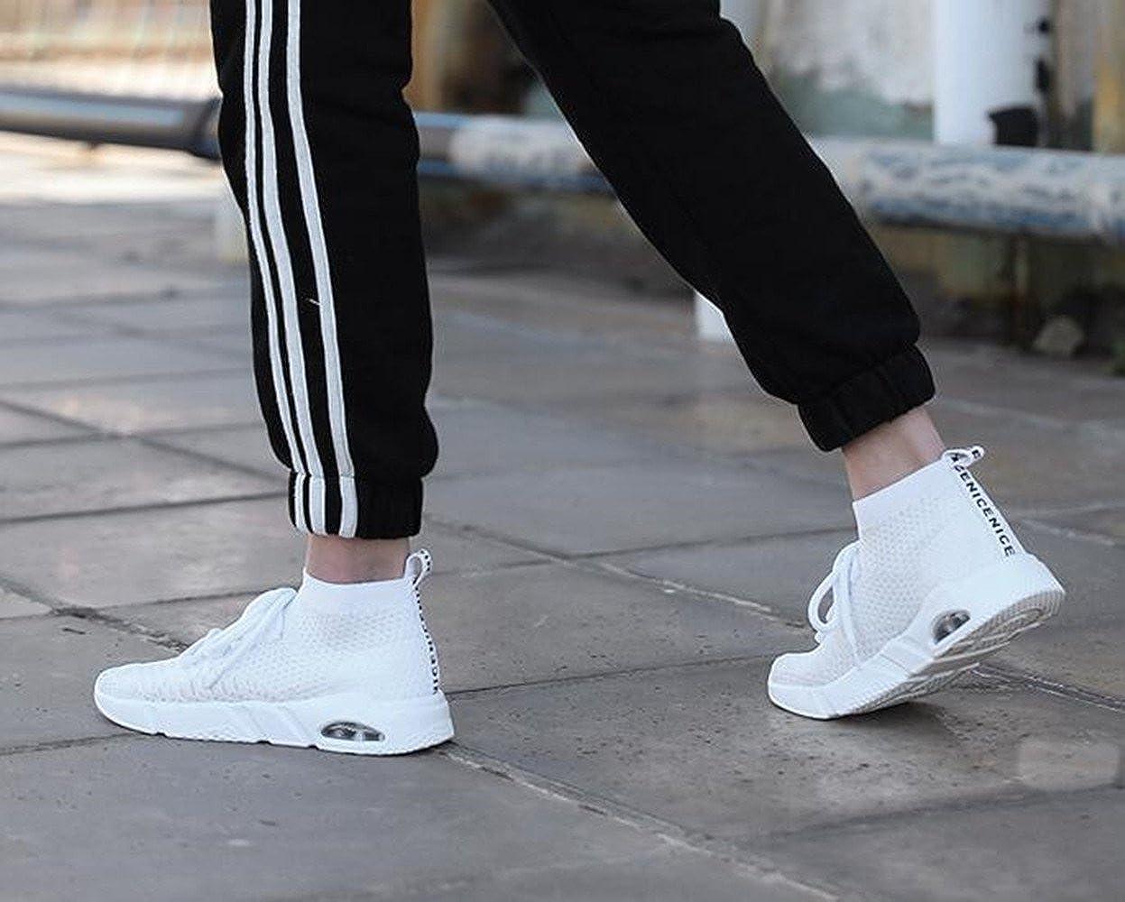 Homme Chaussures de Course Fitness Walking Baskets High Top Slip on Knit  Chaussette Coussin à Air 5d32c93740c
