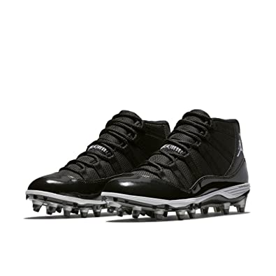 25ca6ae9a89 Nike Mens Air Jordan XI 11 Retro TD Football Cleats Black White Metallic  Silver