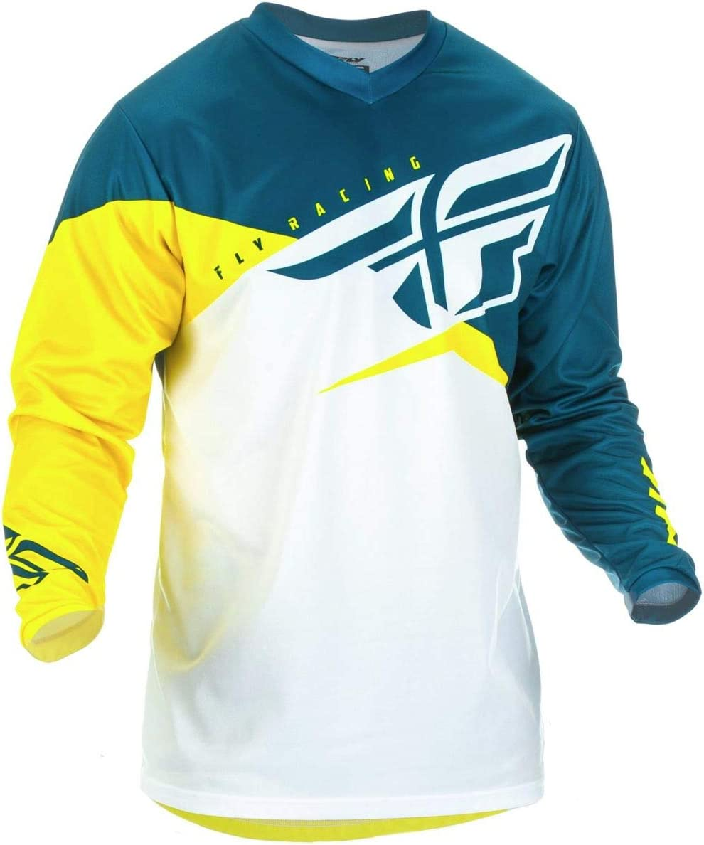 Yellow//White//Navy Fly Racing 2019 Youth F-16 Jersey Medium