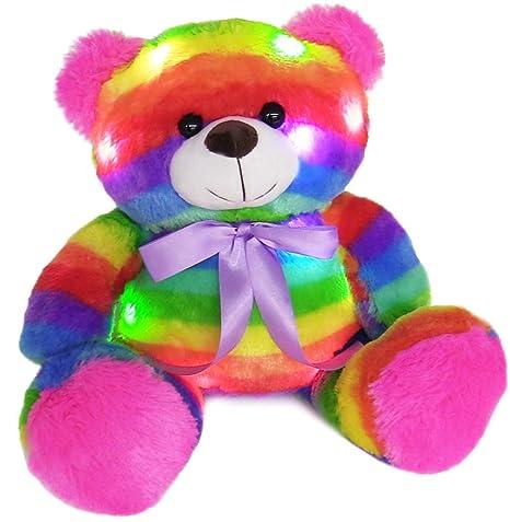 Amazon Com The Noodley 14 Led Light Up Rainbow Teddy Bear With