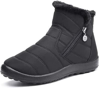 Camfosy Kvinnors vinter snökängor, vattentäta pälsfodrade varma ankeltossor damer utomhus platta promenadskor termiska halkfria regnstövlar sida dragkedja glid på bred vad passande svart grå
