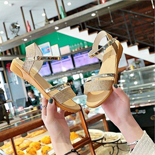 Mujeres Sandalias del Mujeres Sandalias Las de de Verano de de Zapatos Punta Bajas Las Mujeres Planas los Sandalias con Abierta Oro Las qrtxrEH