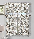 3 Piece Faux Linen Sheer Kitchen Window Curtain Tier & Valance Set Floral Vine Design – Assorted Colors | Brown Review