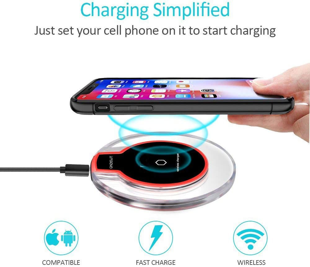 OneCut 10W//7.5W//5W Fast Wireless Charger Pad for Huawei P40//P30 Pro//Mate 30//20 Pro//Galaxy S20//S10//S10+//S10e//S9// S8 //S8+// S7//S7 Edge Note 10//9//8 Qi Certified Charging Pad for iPhone Black