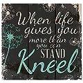 When Life Gets Too Hard To Stand Kneel Dandelion Wisps 10 X 10 Wood Pallet Design Wall Art Sign