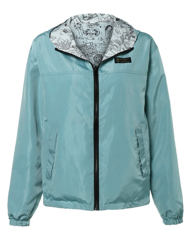 BELLEZIVA Ladies Basic Outwear Simple Style Reversible Long Sleeve Zip Up Hooded Windbreak Jacket