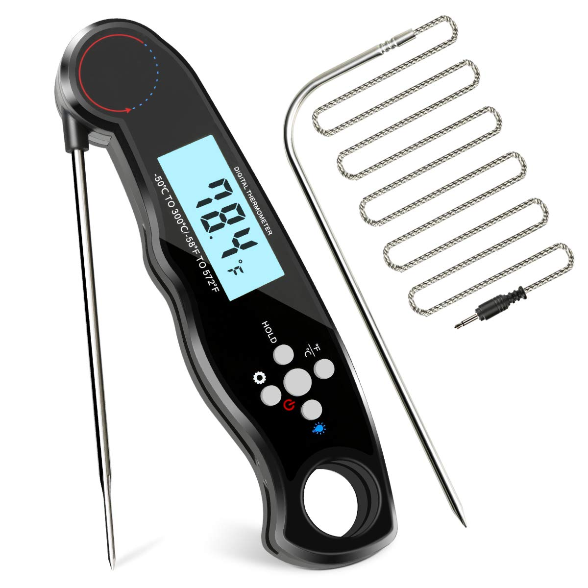 Instant Read Meat Thermometer DotStone Digital Thermometer Built-in Magnet with Backlight Temperature Alarm Function Contains 3.9FT External Probe for Kitchen Outdoor Cooking Grill BBQ Oven