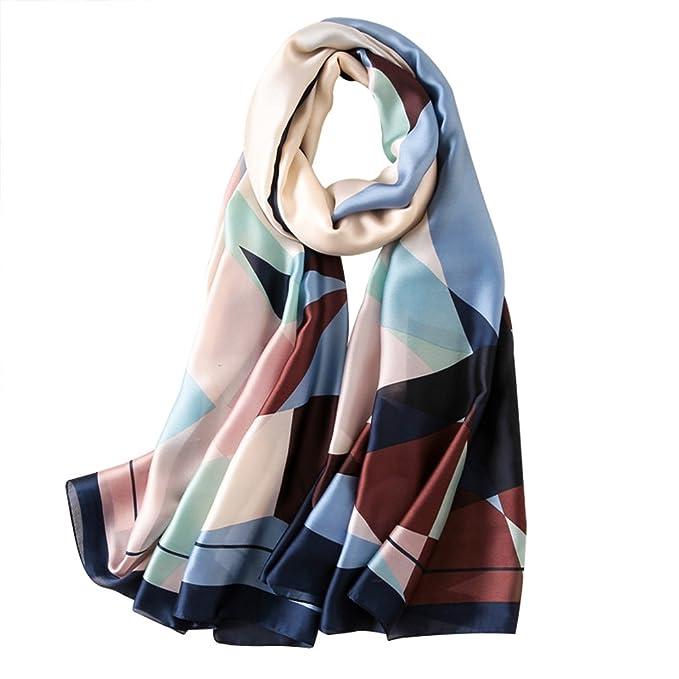 8d673ddb77e1 DAMILY Femme Foulard Soie Mode Géométrique Imprimé Châles Wrap (Bleu Marine)